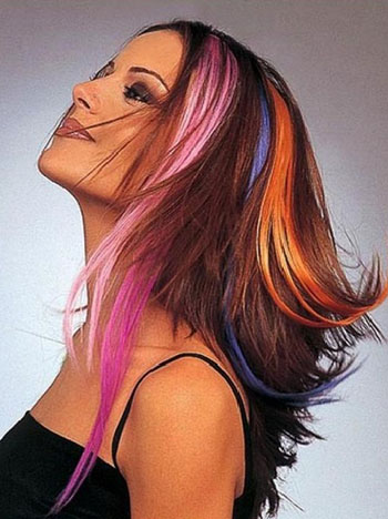 Колорирование длинных волос (окрашивание отдельных прядей)