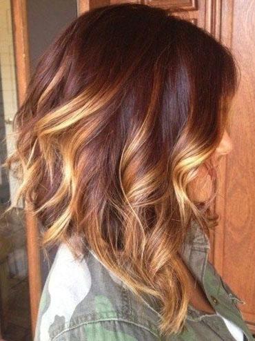 омбре на рыжие короткие волосы фото